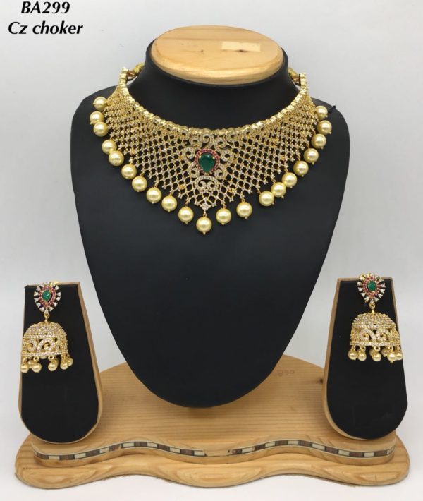 latest cz choker necklace designs in andhra pradesh