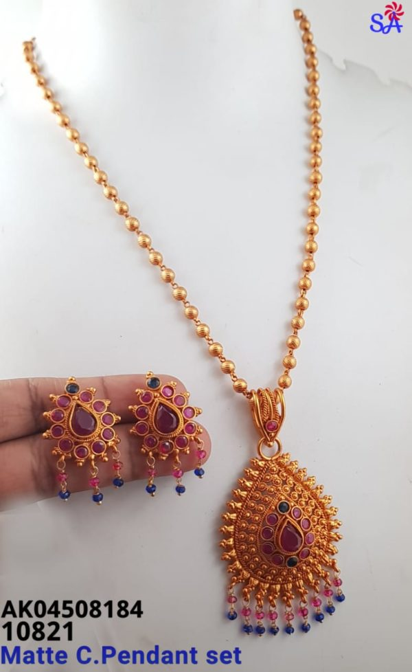 top matte chain pendant set collection in chennai