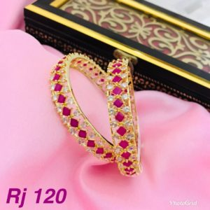 Beautiful ruby stone one gram gold bangles