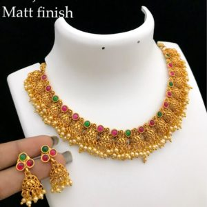matt finish antique necklace designs