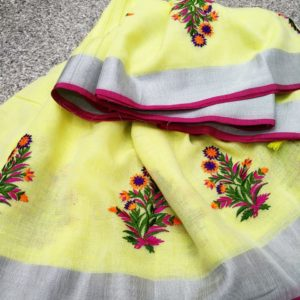 we are leading manufacturers,wholesaler and suppliers of new arrival linen cotton saree with embrodeiry work