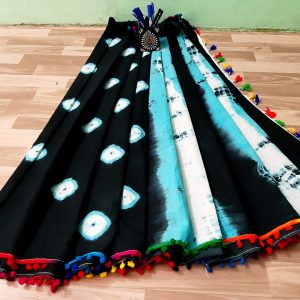 latest pom pom cotton saree collections